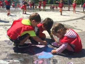 Imagine Vet Kids playing in a park near 23rd street in Manhattan, New York City